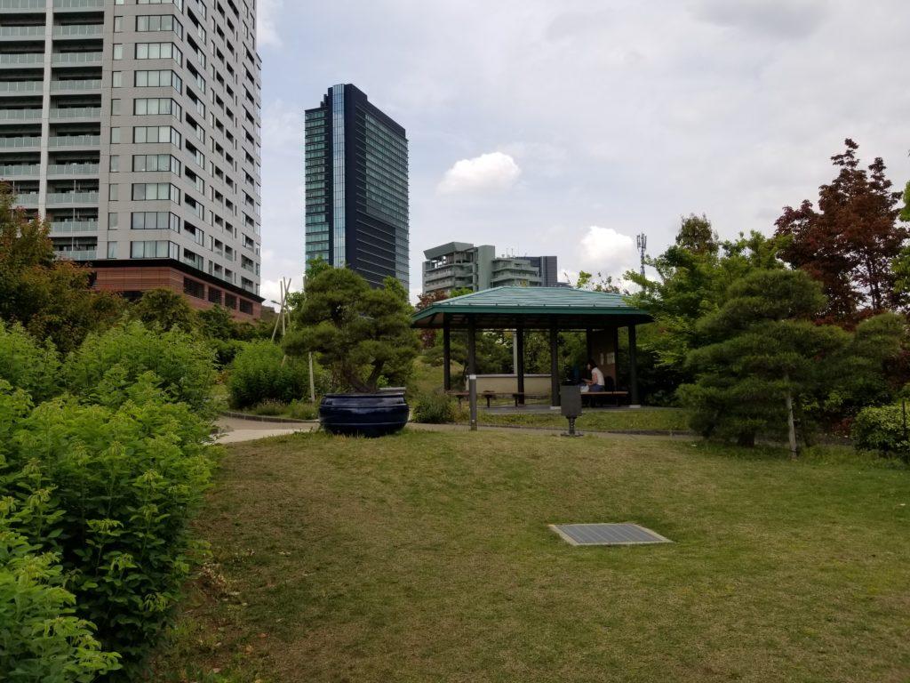 目黒天空庭園の日本庭園風休憩スペース