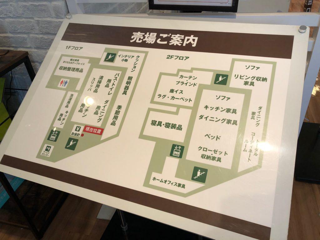 ニトリ中目黒店の売場マップ