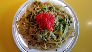 豚肉と高菜のガーリック醤油炒めスパゲティ
