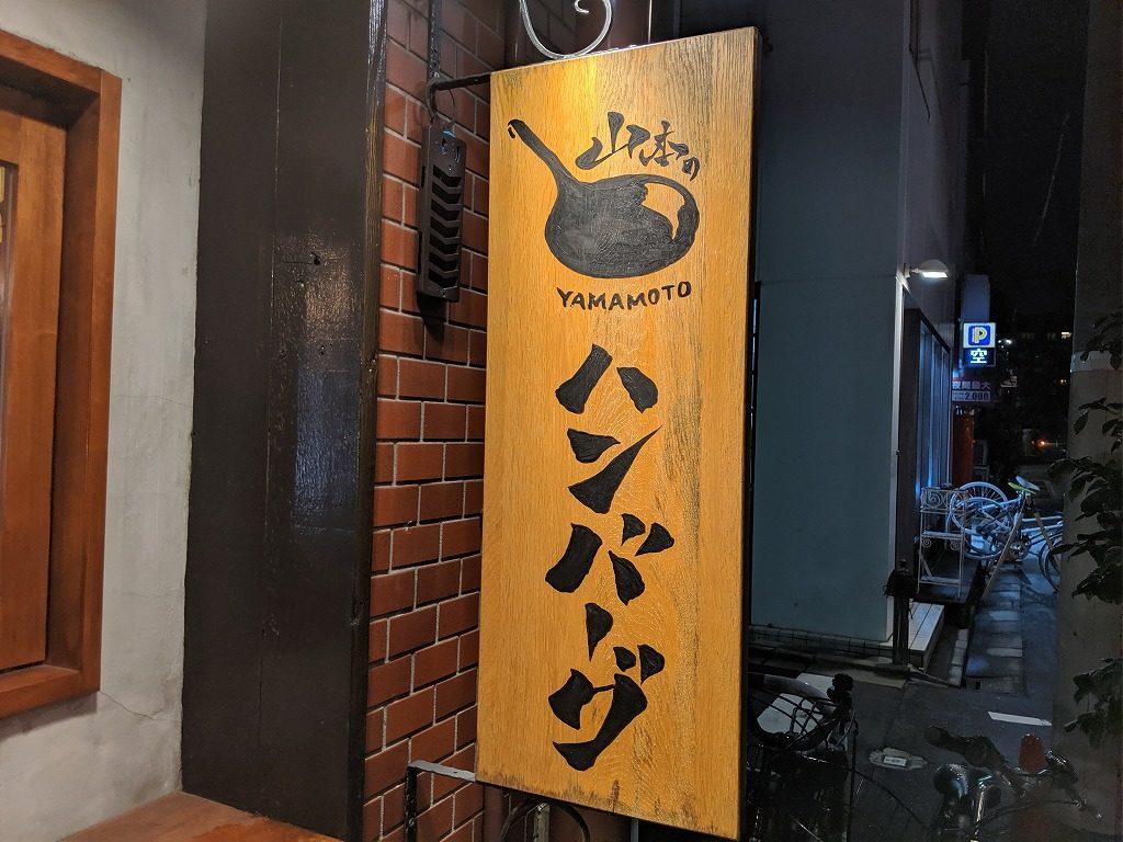 山本のハンバーグの看板