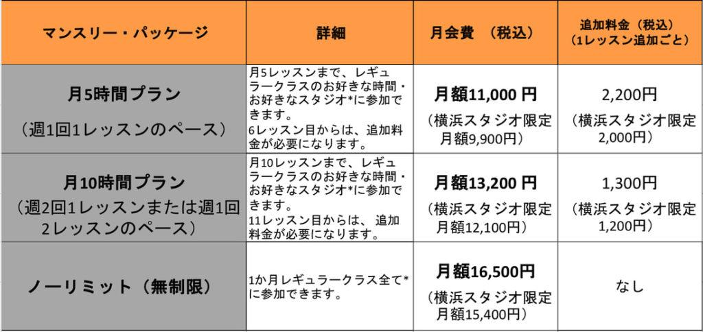 KMG JAPANの料金表