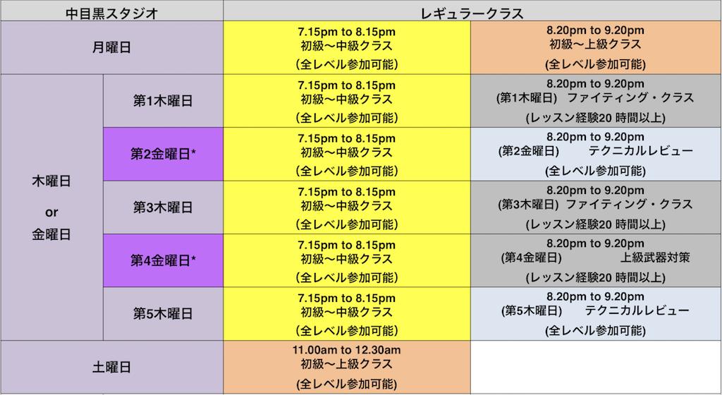 KMG JAPAN レッスンスケジュール