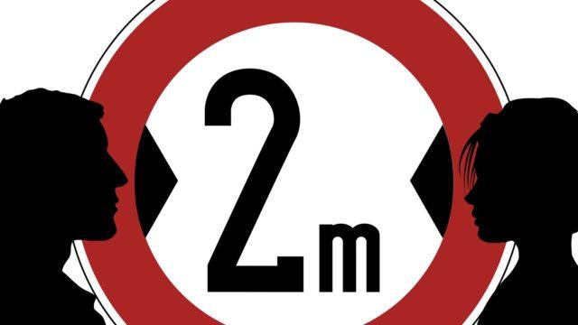 感染を防ぐため2mは距離をとろうというメッセージ