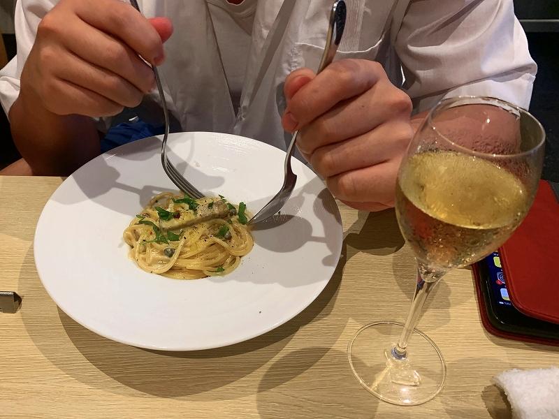 ワインファームTAMURA_中目黒で日曜昼飲み_シャンパンとパスタ